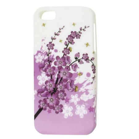 (Unique Bargains Plum Flower Floral TPU Soft Plastic Case Cover for iPhone 5 5G 5th Gen)
