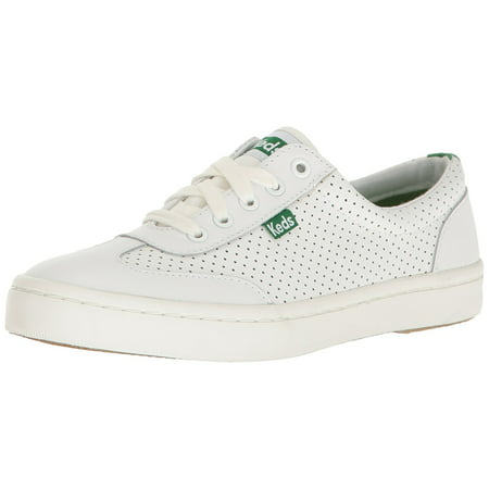 Keds Women's Tournament Retro Court Perf Leather Fashion Sneaker, White/Green, 6.5 M US