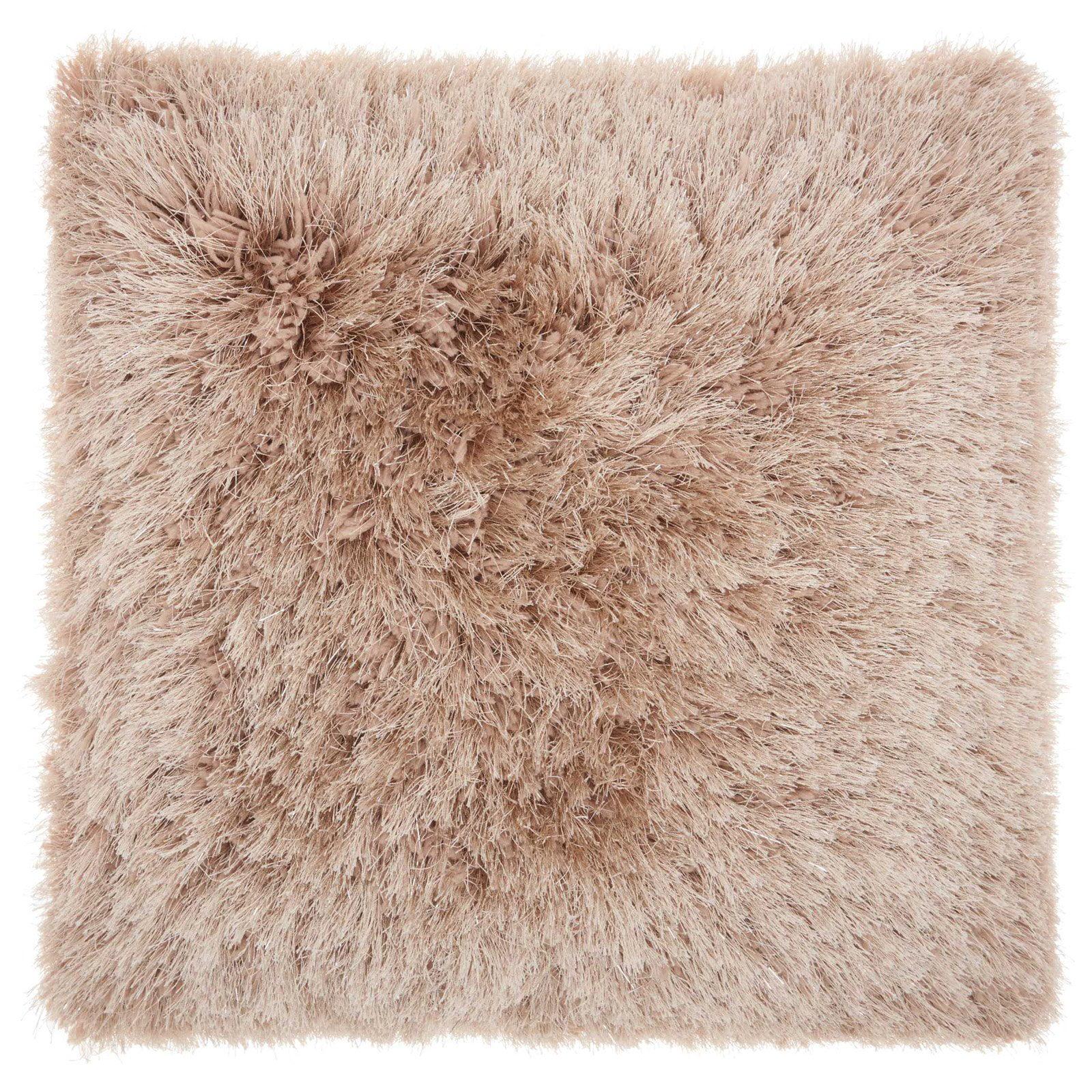 """Nourison Yarn Shimmer Shag Decorative Throw Pillow, 20"""" x 20"""", Cream"""