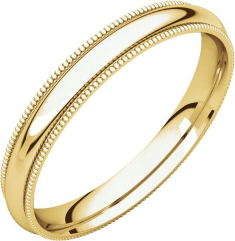 3mm Comfort Fit Milgrain Band in 14k Yellow Gold - Size 6