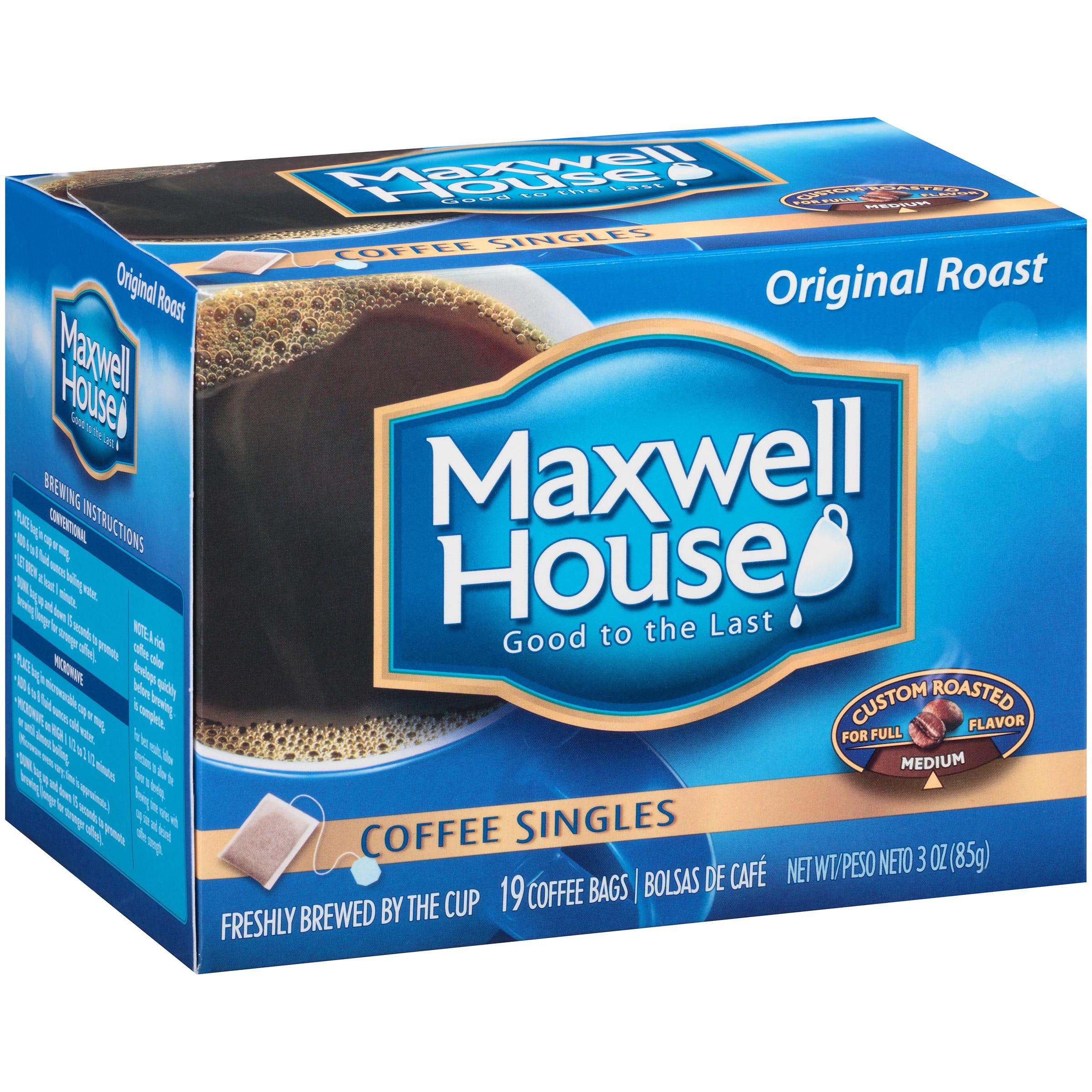 Maxwell House Original Medium Roast Coffee Singles, 19 count, Box