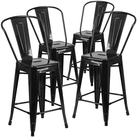Belleze 24''-inch Counter Height Stool w/ High-Back, Set of (4)