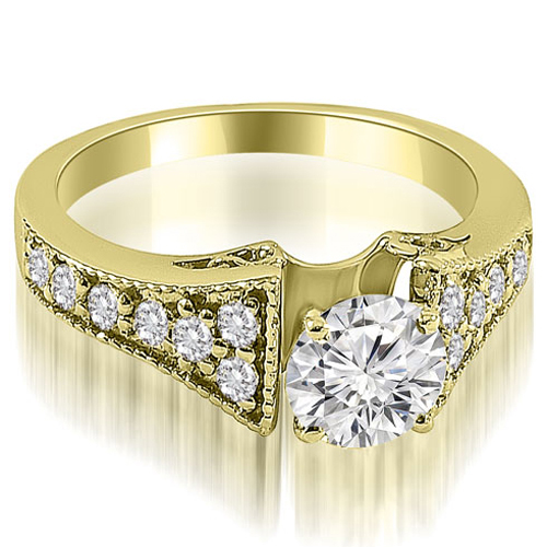 1.00 CT.TW Vintage Cathedral Round Cut Diamond Engagement Ring in 14K White, Yellow Or Rose Gold