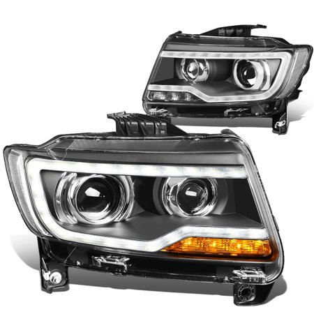 For 2011 to 2013 Jeep Compass LED DRL Light Bar Projector Headlight Black Housing Clear Corner Headlamp 12 12 Left+Right