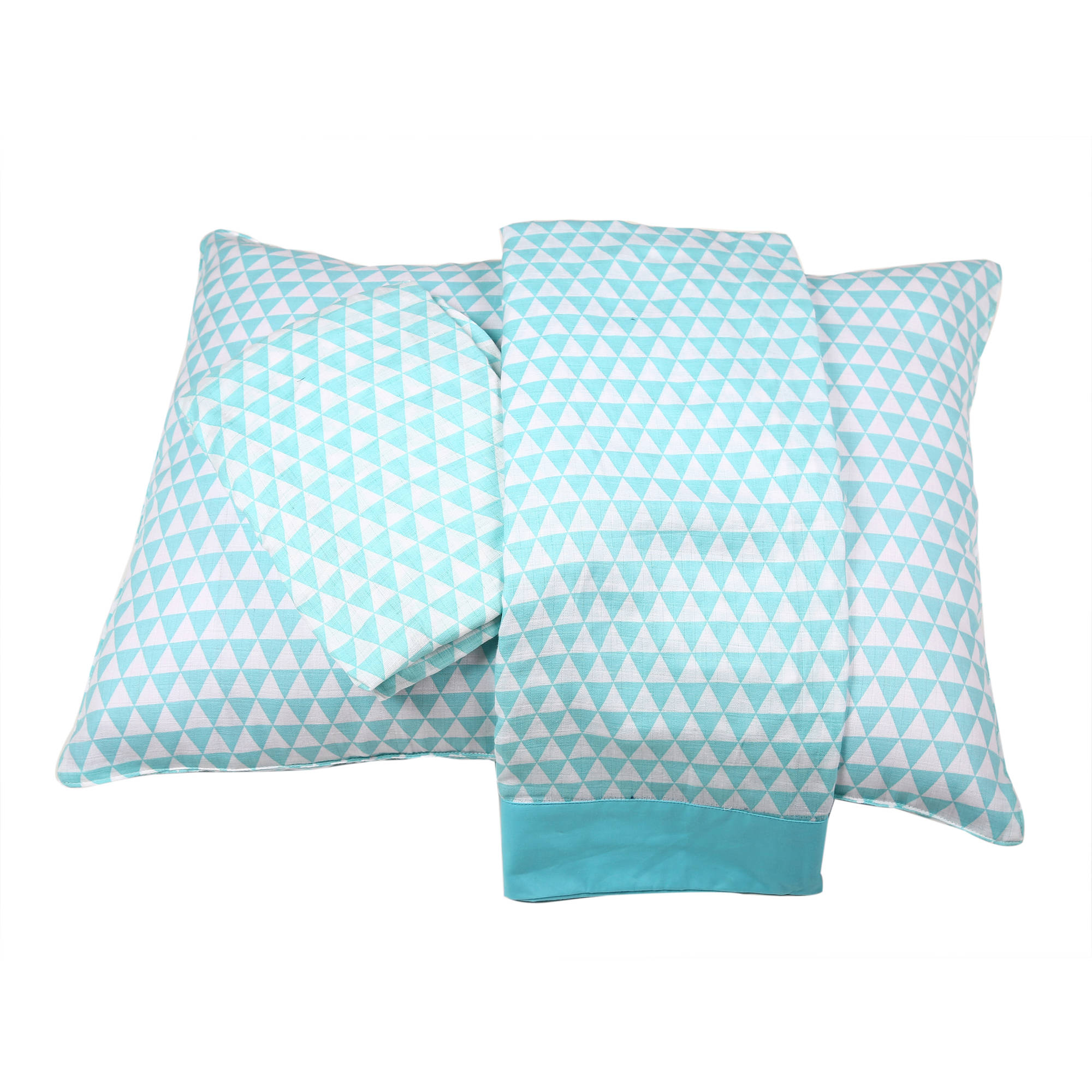 Bacati - Aztec/Tribal Aqua/Navy 3-Piece 100% Cotton breathable Muslin Toddler Bedding Sheet Set, Small Triangles