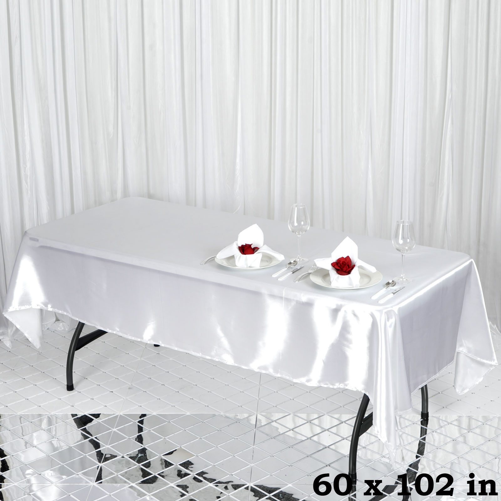 """Efavormart 60x102"""" Rectangle Satin Tablecloth Wholesale SATIN Banquet Table Linens... by"""