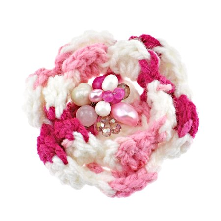 Handmade Pink and White Crochet Flower with Pearl Stone and Crystal Brooch Pin