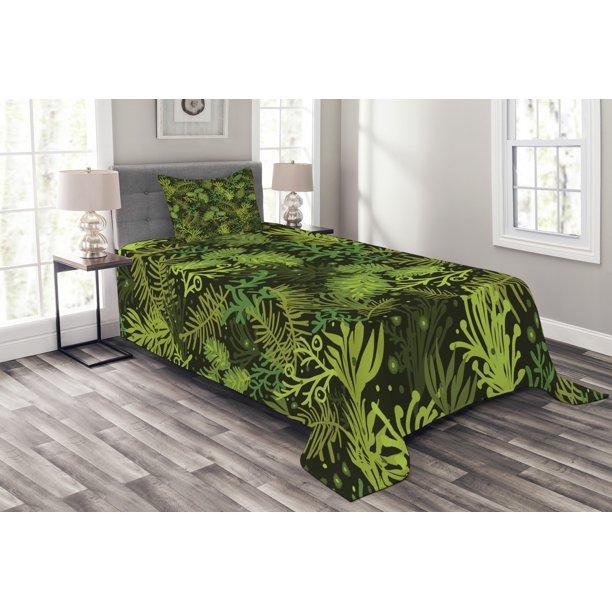 Sage Bedspread Set, Evergreen Christmas Tree Coniferous