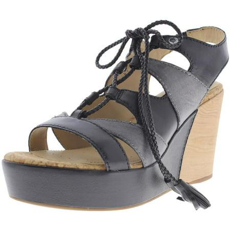 9e3017e574676 Geox - Womens D Jaleah Leather Contrast Wedge Sandals - Walmart.com