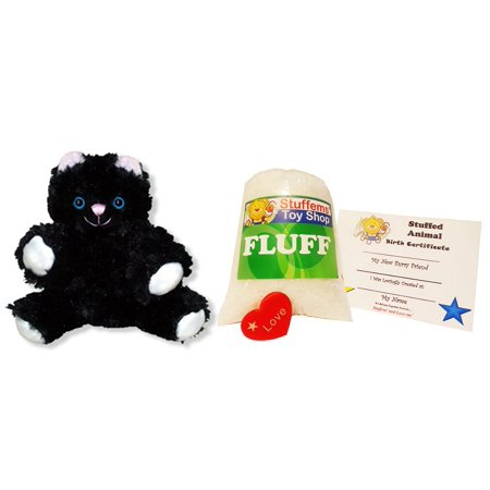 Make Your Own Stuffed Animal Mini 8 Inch Super Soft Black Cat Kit - No Sewing Required!
