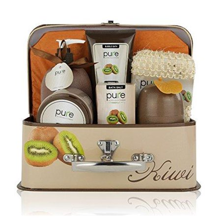Essence of Luxury Spa Gift Basket Bath Set! PURE Spa Basket Natural Skin Care Gift Set Makes Best Mothers Day Gift for Women & Holiday Gift Baskets! (Kiwi) Refreshing Kiwi with PURE Kiwi Fruit
