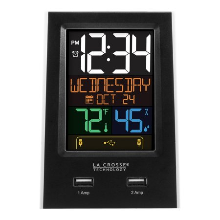 La Crosse Technology C86224 Desktop Dual USB Charging Station with Dual Alarms and Nap