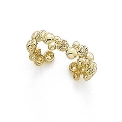 - 14k Yellow Gold Laser Polished Bubble Toe Ring - 1.4 Grams