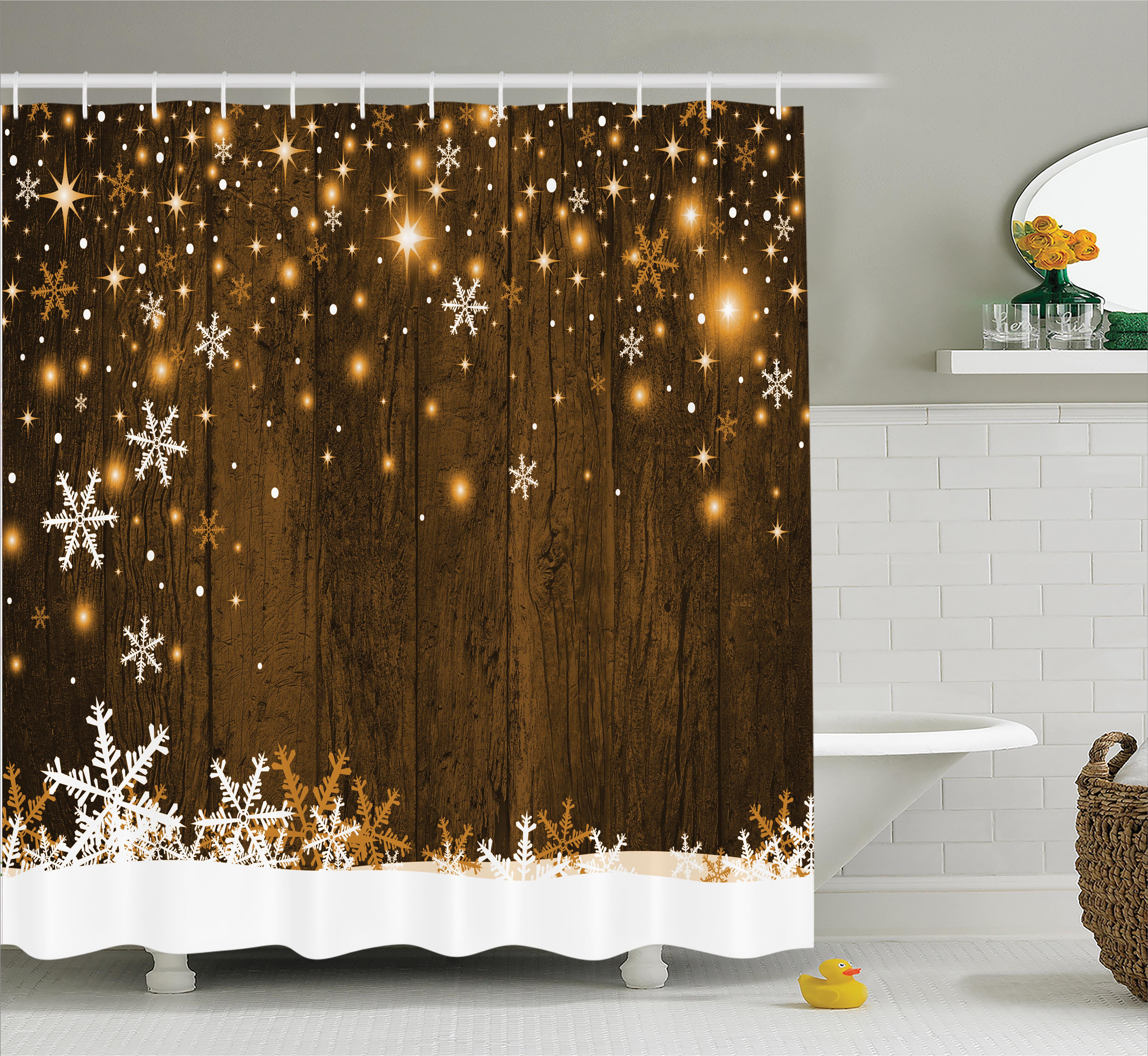 Christmas Decorations Shower Curtain Set, Rustic Wooden Backdrop with Snowflakes and Lights Warm Xmas Celebration Themed, Bathroom Accessories,  Brown White, by Ambesonne