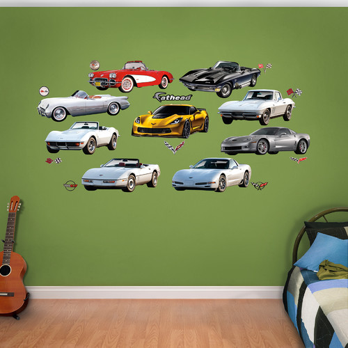 Fathead Motors Corvette Generations Peel and Stick Wall Decal