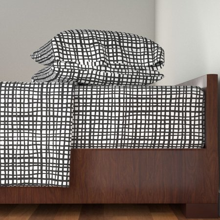 Black And White Grid Paint Swedish 100% Cotton Sateen Sheet Set by Roostery Black And White Sheets