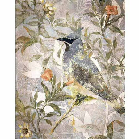 Attentive Distressed Bird Painting Tan & Grey Canvas Art by Pied Piper Creative