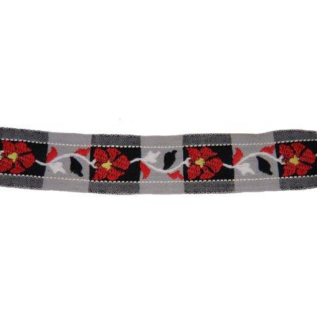 1 Inch Old Fashion Red Floral Woven Jacquard Braid Ribbon (Floral Jacquard Ribbon)