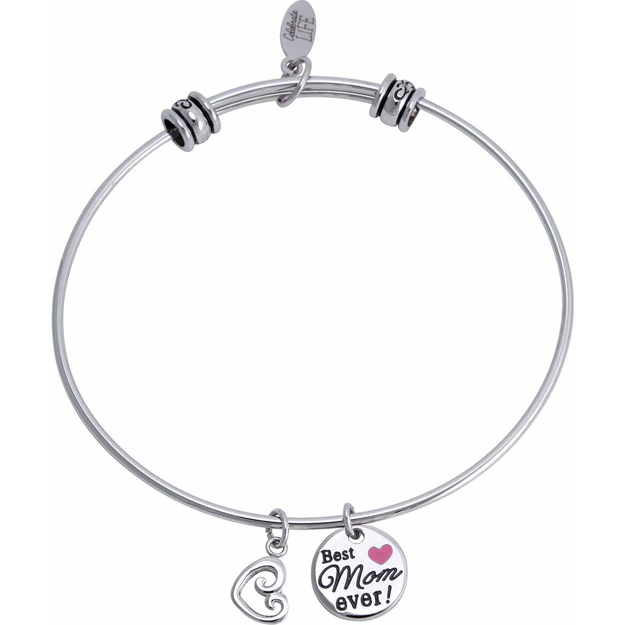 """Connections from Hallmark Stainless Steel """"Best Mom ever!"""" and Heart Multi-Charm Bangle"""