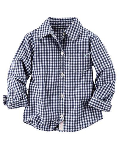 Carter's Big Girls' Poplin Button-Down L/S Shirt, Blue (8)