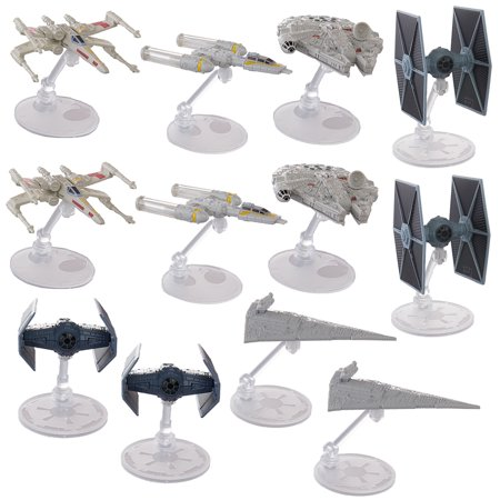 - Set Of 12 Hot Wheels Star Wars Starships Millennium Falcon X Wing Y Wing Tie Fighter Darth Vader Tie Advanced Star Destroyer Han Solo Toys
