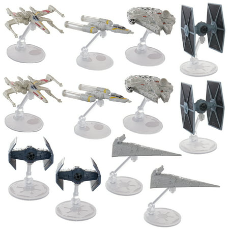 Set Of 12 Hot Wheels Star Wars Starships Millennium Falcon X Wing Y Wing Tie Fighter Darth Vader Tie Advanced Star Destroyer Han Solo Toys](Millennium Falcon Rc)