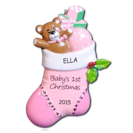 personalized bear stocking babys first christmas ornament girl