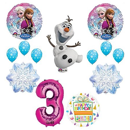 Frozen 3rd Birthday Party Supplies Olaf, Elsa and Anna Balloon Bouquet Decorations Pink - Party City Frozen Theme