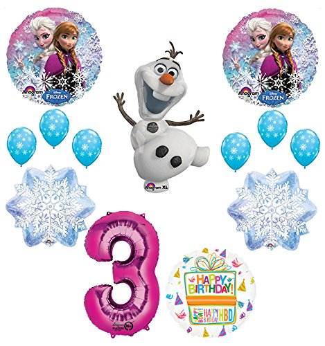 Frozen 3rd Birthday Party Supplies Olaf, Elsa and Anna Balloon Bouquet Decorations Pink #3