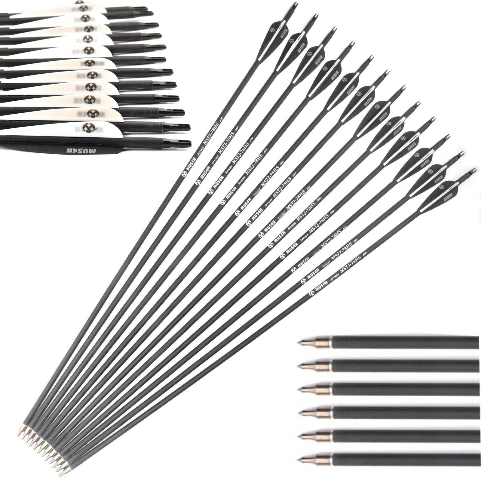 12Pcs Carbon Arrows 28 Inch 7.8mm Spine 500 Practice Archery For Compound Bows