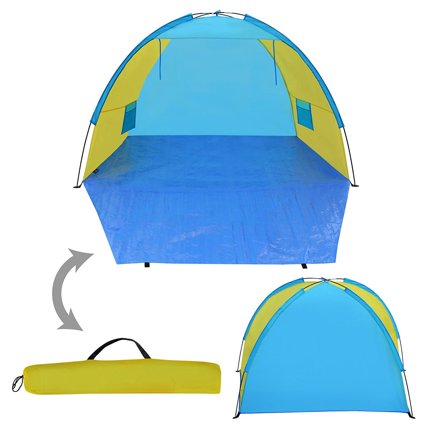 Strong Camel Portable Pop Up Beach Shelter, Camping Tent, Sunshade Outdoor Canopy, Light Blue and Yellow, W/Carry Bag