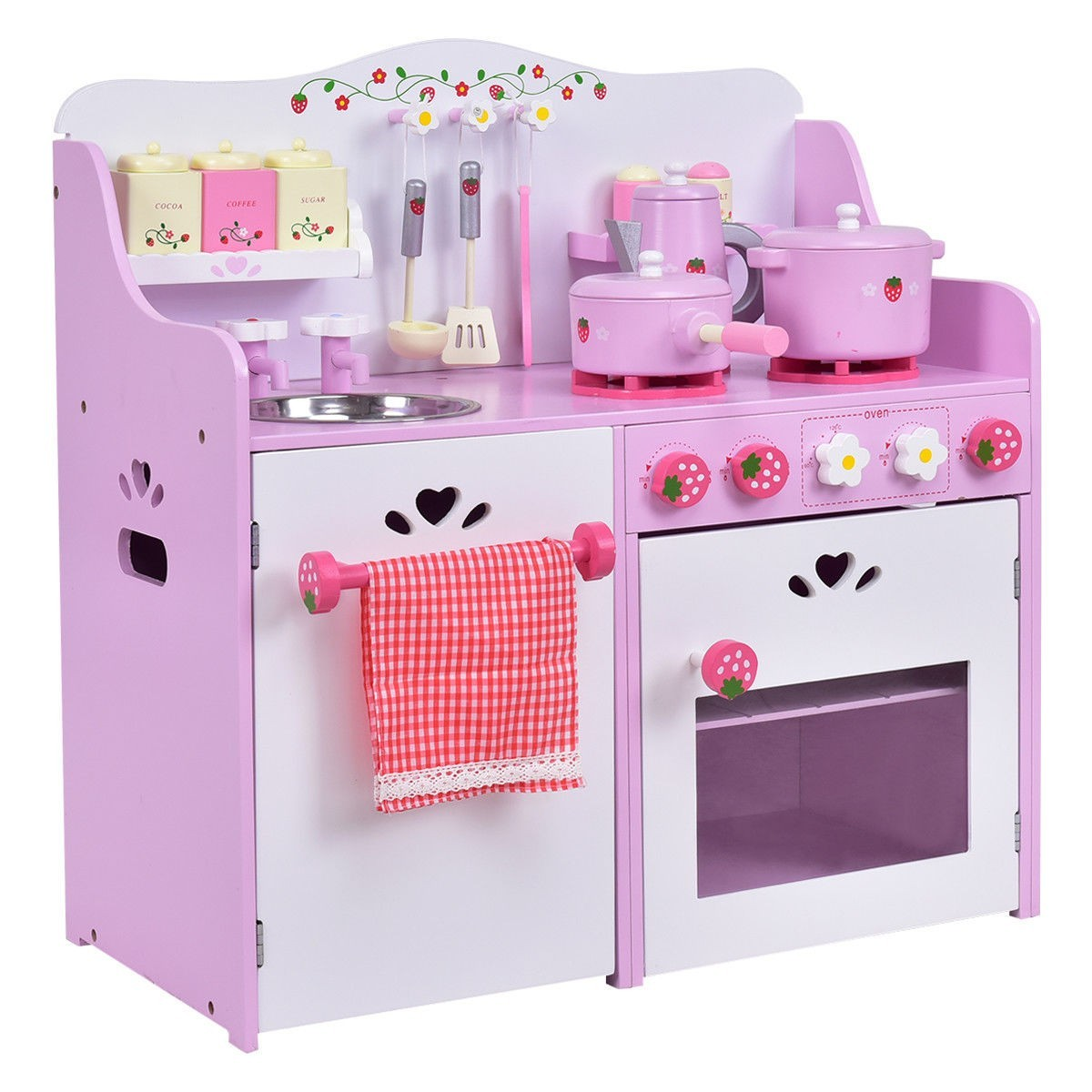 Kids Wooden Kitchen Toy Strawberry Pretend Cooking Playset by