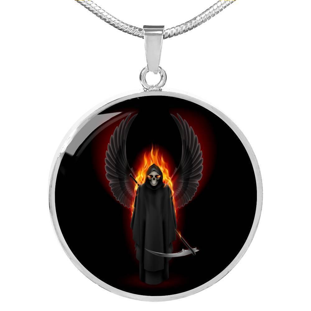 Gold Santa Muerte Grim Reaper Pendant Necklace