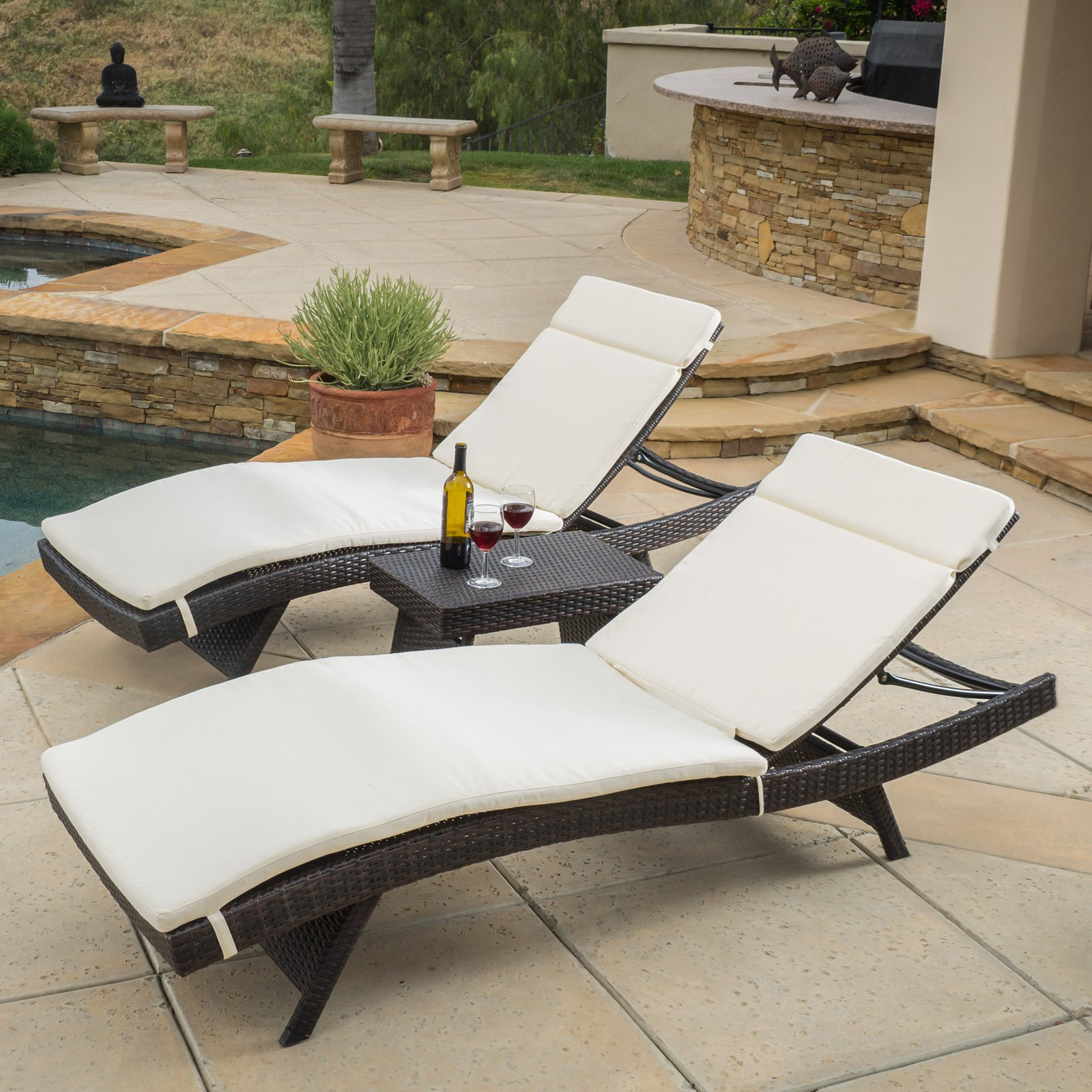 Halulu Wicker 3 Piece Chaise Lounge Set with Cushion