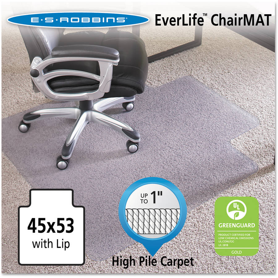 "ES Robbins 45"" x 53"" Lip Chair Mat, Performance Series AnchorBar for Carpet up to 1"""