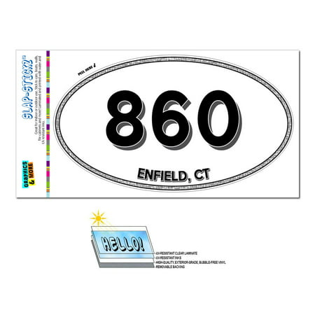 860 - Enfield, CT - Connecticut - Oval Area Code Sticker ()
