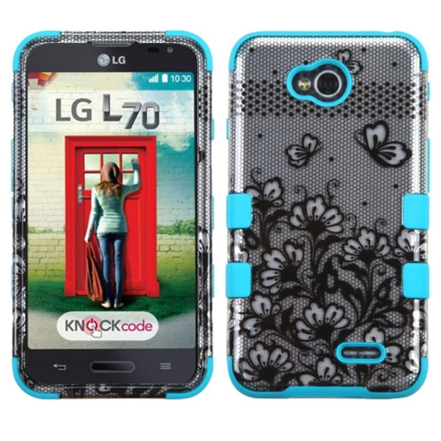 Insten Tuff Lace Flower Hard Cover Case For LG Optimus Exceed 2 VS450PP Verizon/Optimus L70 MS323/Realm LS620 - Blue