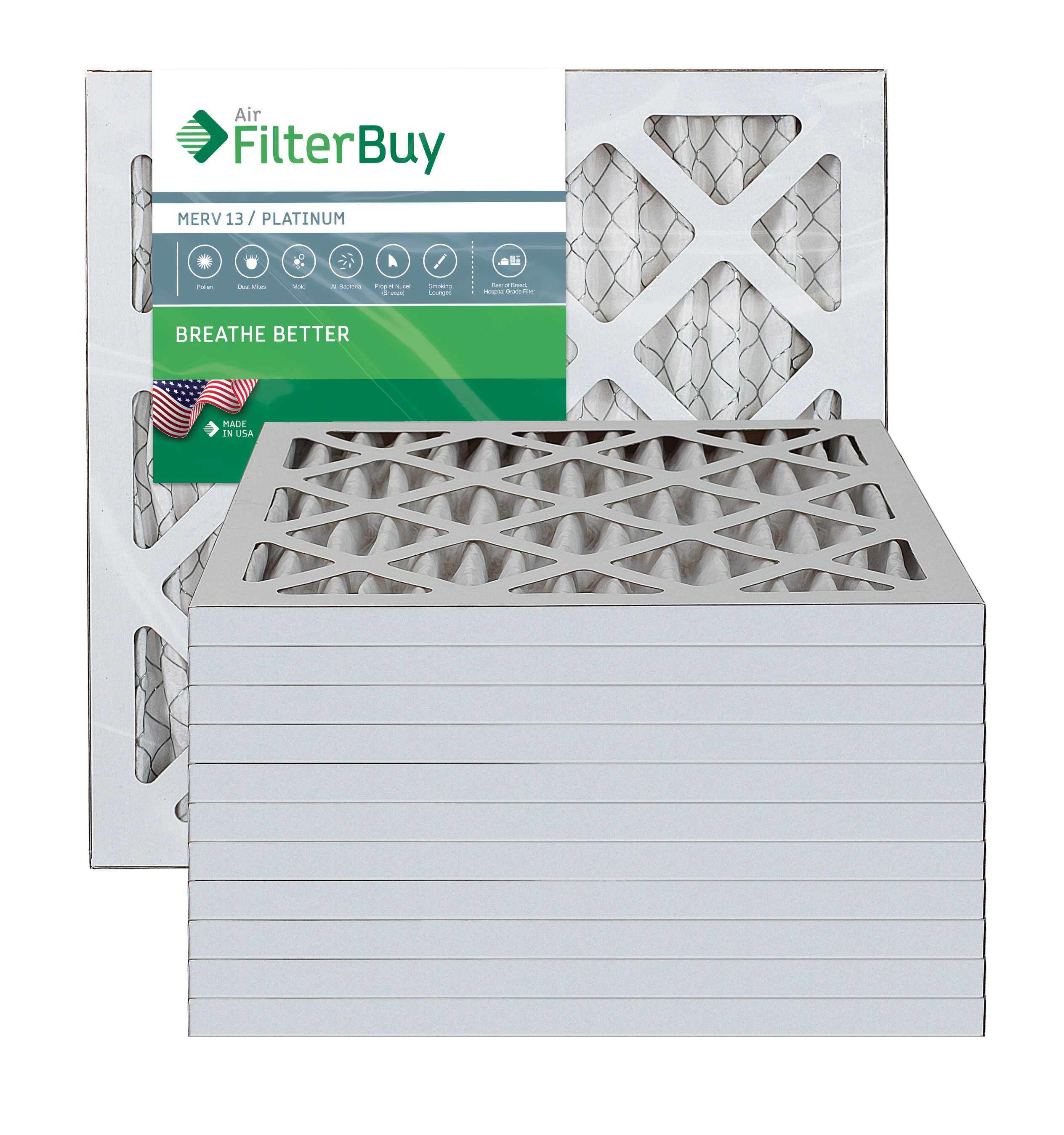 AFB Platinum MERV 13 11.25x11.25x1 Pleated AC Furnace Air Filter. Pack of 12 Filters. 100% produced in the USA.