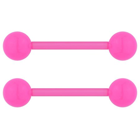 14G 16mm (5/8 Inch) Flexible Acrylic Nipple or Tongue Ring Barbell Set PLUS FREE Bonus Barbell ()
