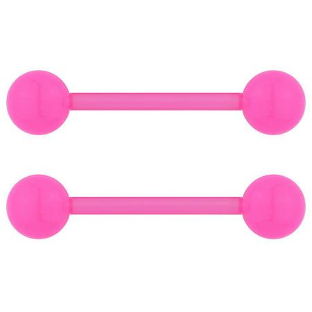 Acrylic White Barbell - 14G 16mm (5/8 Inch) Flexible Acrylic Nipple or Tongue Ring Barbell Set PLUS FREE Bonus Barbell