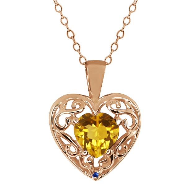 0.73 Ct Heart Shape Citrine Blue Sapphire Gold Plated Sterling Silver Pendant