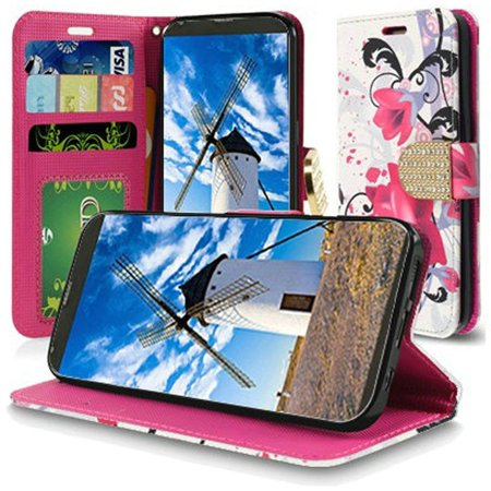 HR Wireless Lily Folio Leather Fabric Cover Case w/stand/card slot/Photo  Display/Diamond For LG Stylo 4 Stylo 4 plus