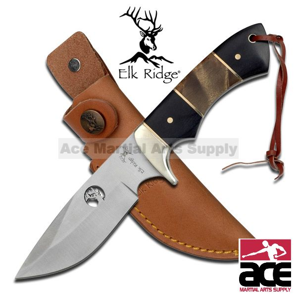 Elk Ridge Outdoor Fixed Blade Hunting Knife W  Burl wood Handle by