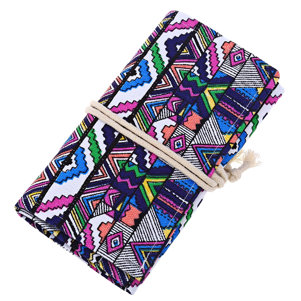 Geometric Pattern Canvas Roll Up Pencil Bag