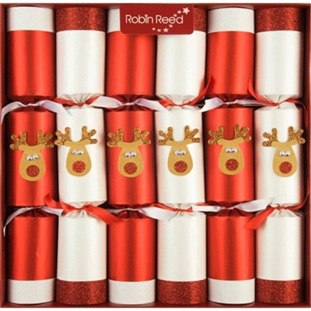 Robin Reed English Holiday Christmas Crackers, Pack of 6 - Racing Reindeer ()