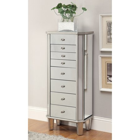 Coaster Jewelry Armoire, Antique Silver Finish