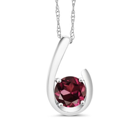 1.00 Ct Round Red Rhodolite Garnet 10K White Gold Pendant With Chain (Round Cut Garnet Pendant)