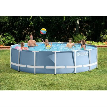 intex 14 39 x 42 prism frame above ground pool with filter pump. Black Bedroom Furniture Sets. Home Design Ideas