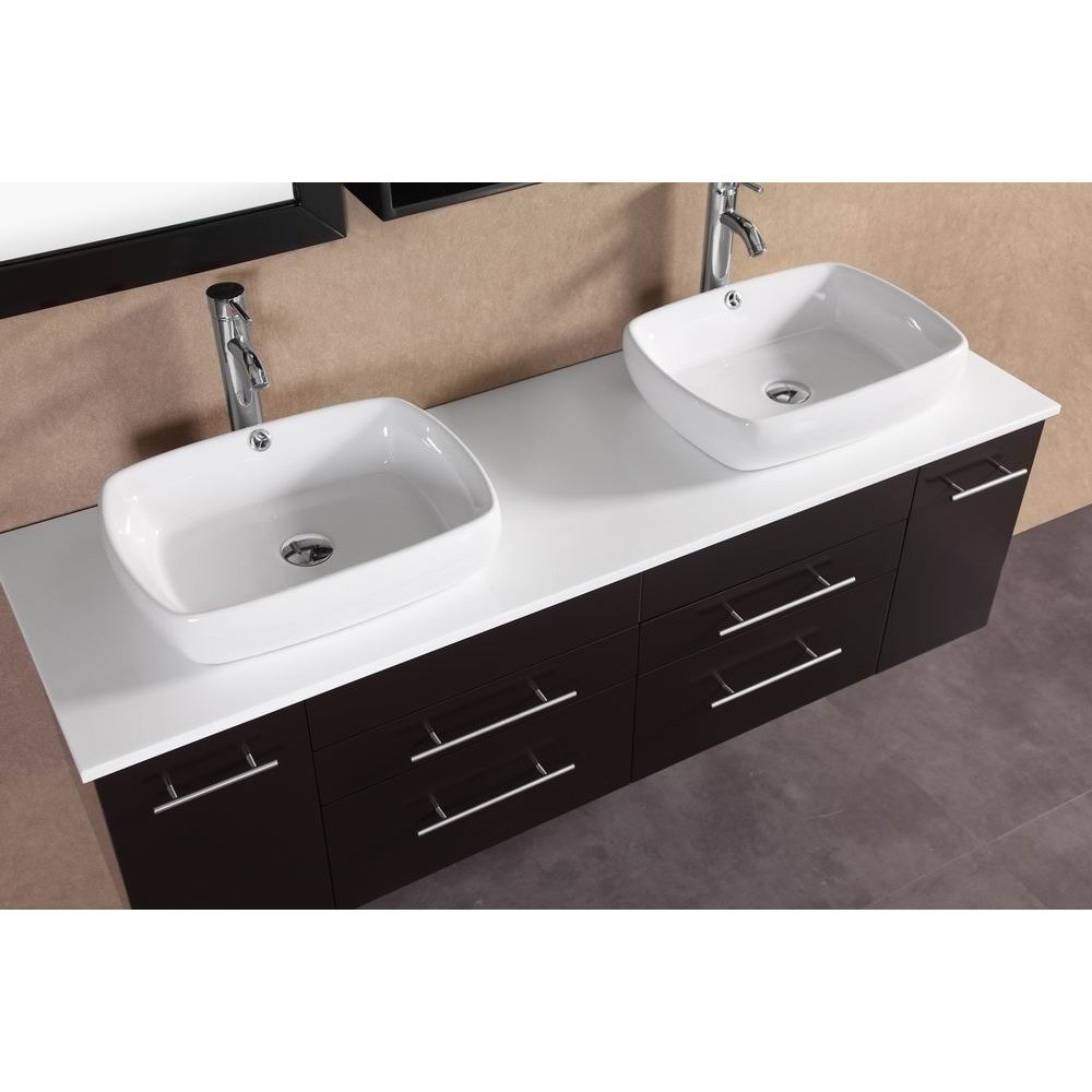 Belvedere 60 in. Modern Double Vessel Bathroom Vanity with Stone Top ...