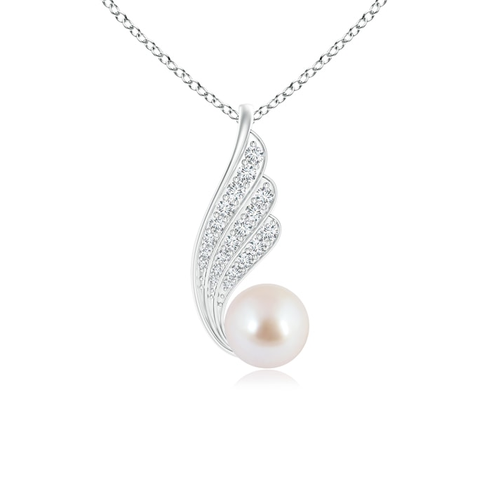 Angara Akoya Cultured Pearl Angel Wings Necklace with Diamonds Vep0g